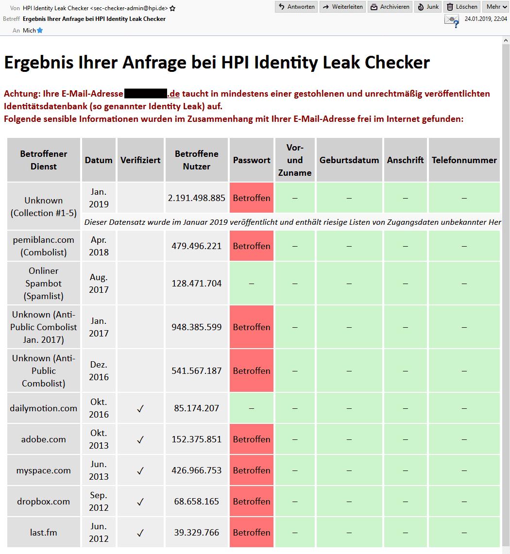 Treffer, versenkt: Über den HPI Identity Leak Checker findet man heraus, ob sich die eigenen Mail-Adresse in den Collections #1-5 und weiteren Leaks befindet.