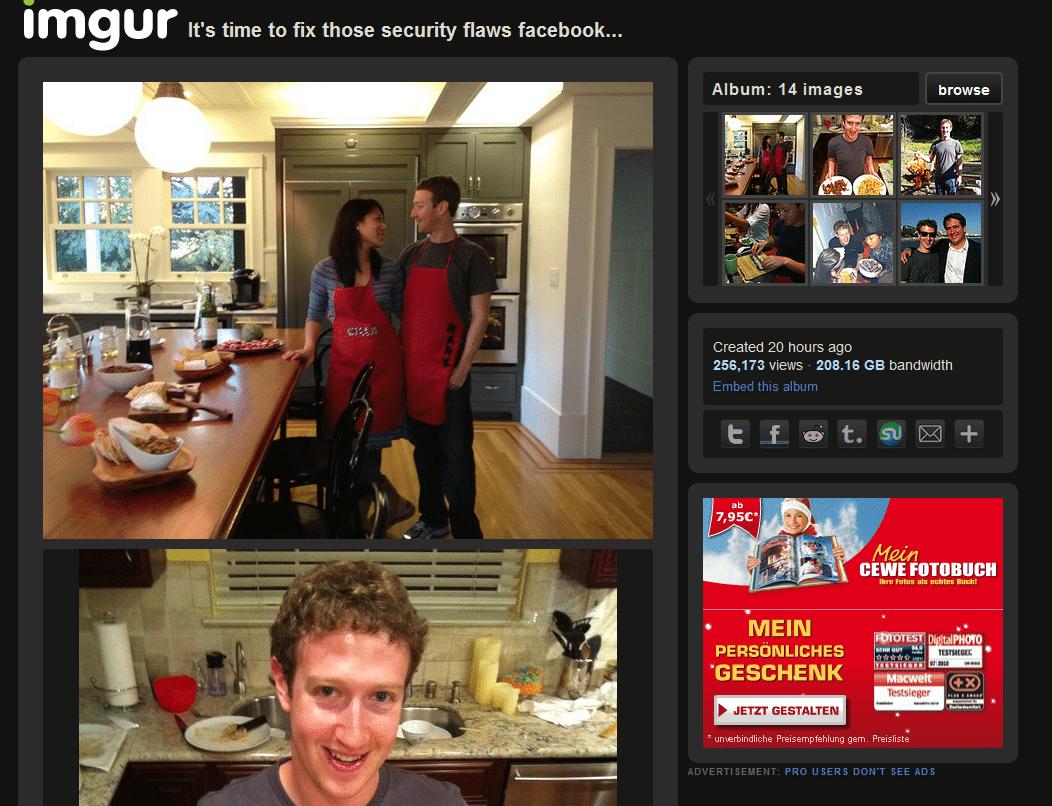 Ein Blogger, der die Panne bei Facebook entdeckte, veröffentlichte private Bilder von Mark Zuckerberg