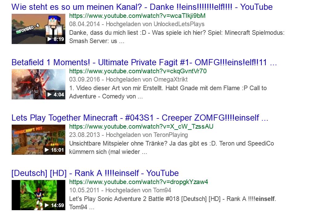"""""""Einself"""" -- beliebt für Video-Überschriften"""