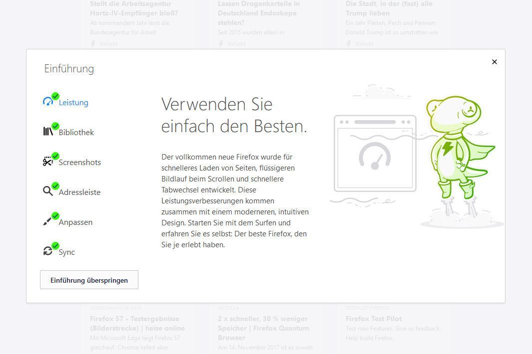 Viel zu entdecken: Eine Einführungstour stellt die Neuerungen des Firefox-Browsers vor.