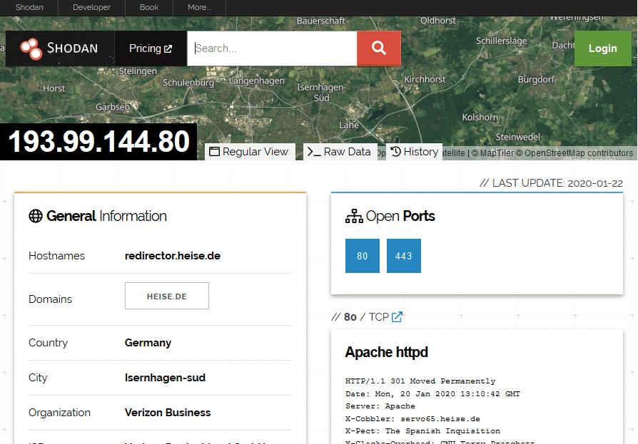 Shodan scannt regelmäßig das Internet und listet öffentlich zugängliche Dienste auf.