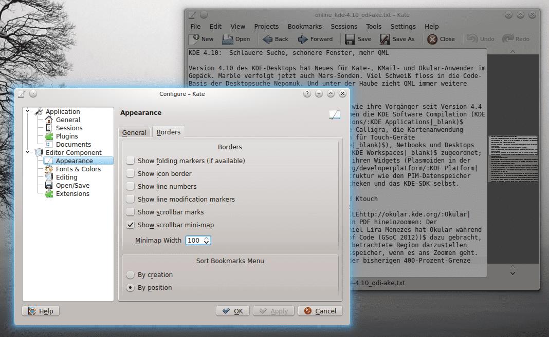 """Die neue """"Dokumentenkarte"""" ersetzt auf Wunsch den Scrollbar – nicht nur in Kate."""