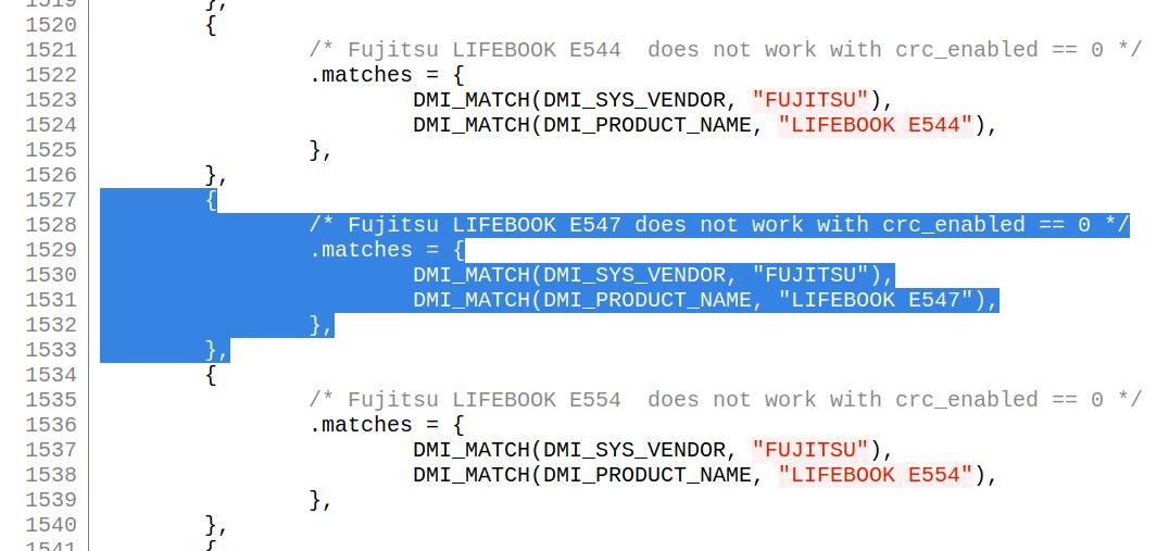 Linux 4.11 fangen das Touchpad-Problem durch einen keinen Codeschnipsel ab, durch die der Kernel einen existierenden Workaround auch beim E547 anwendet.