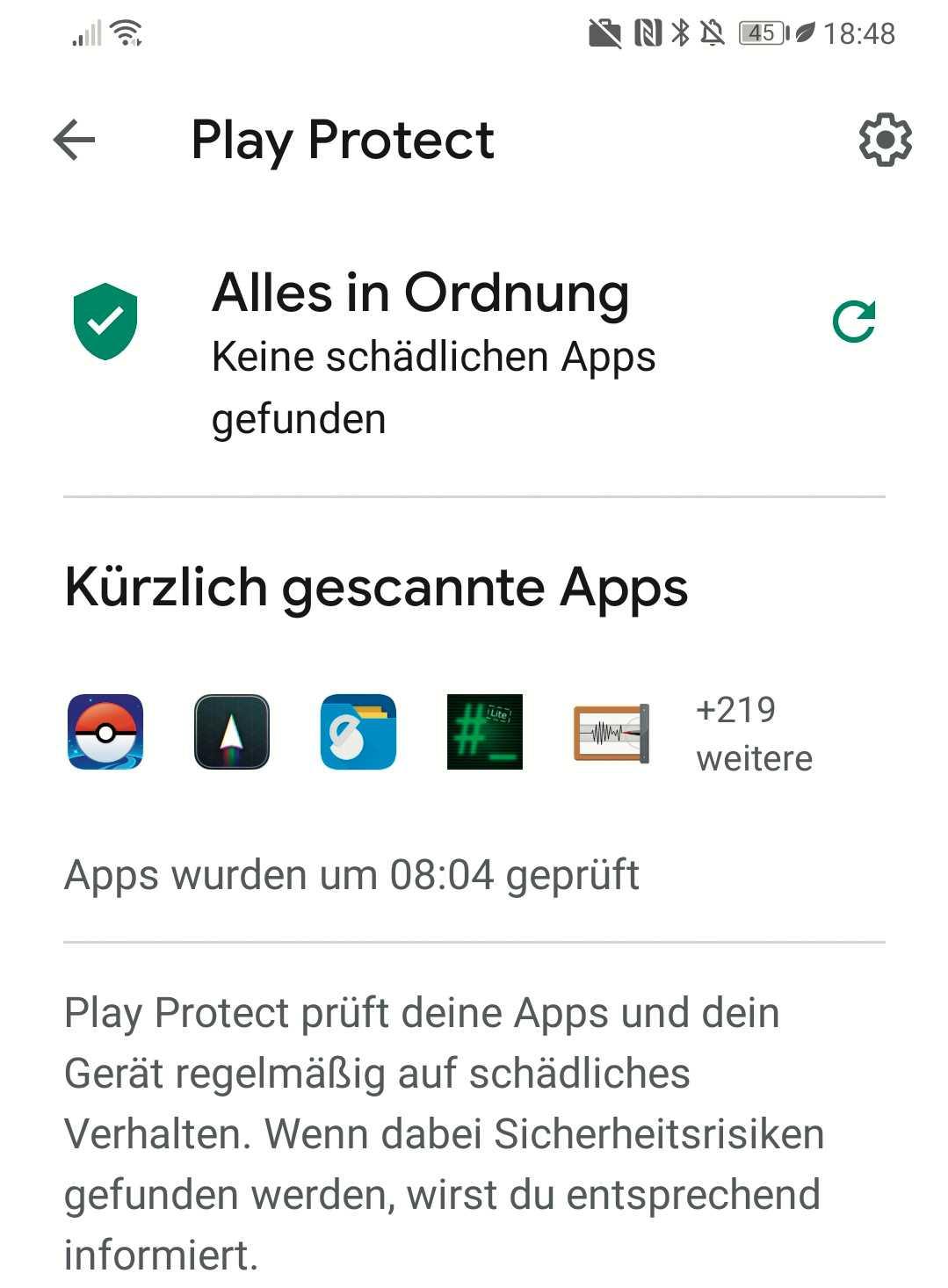 Virenschutz frei Haus: Auch Android bringt inzwischen einen Virenscanner namens Play Protect mit.