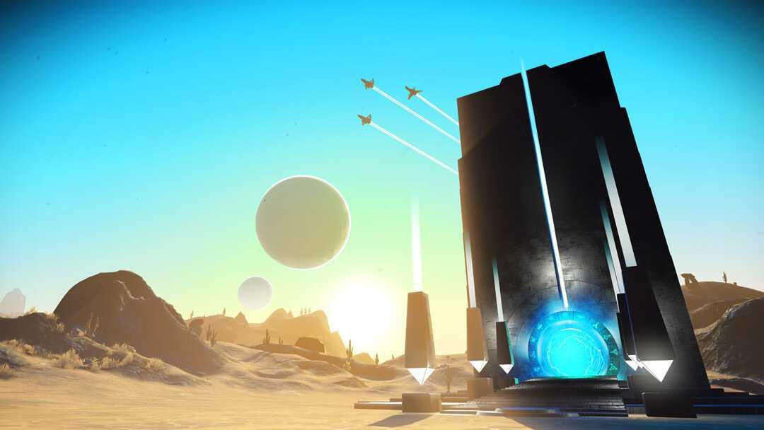 Update 1.3 bringt Portale, die Schnellreisen zu bereits bekannten Planeten erlauben. Alternativ kann man sich zufällig auf unbekannte Planeten teleportieren.