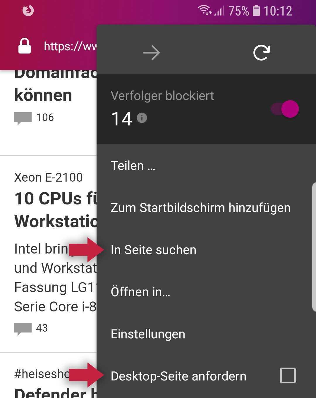 Firefox Klar kann nun Seiten durchsuchen und Desktop-Varianten anfordern.