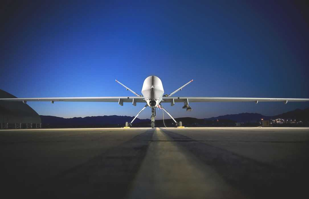 """Eine amerikanische Reaper-Drohne (""""Sensenmann"""")."""