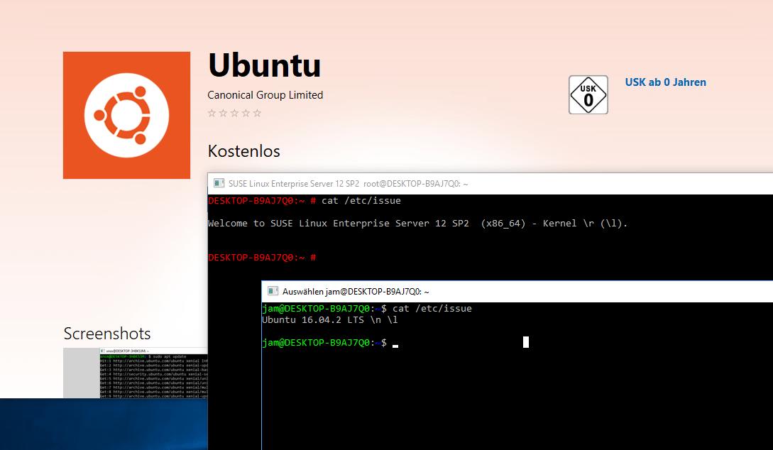 Ubuntu und SUSE Enterprise Server laufen parallel innerhalb des Windows-Subsystems für Linux auf Windows 10.