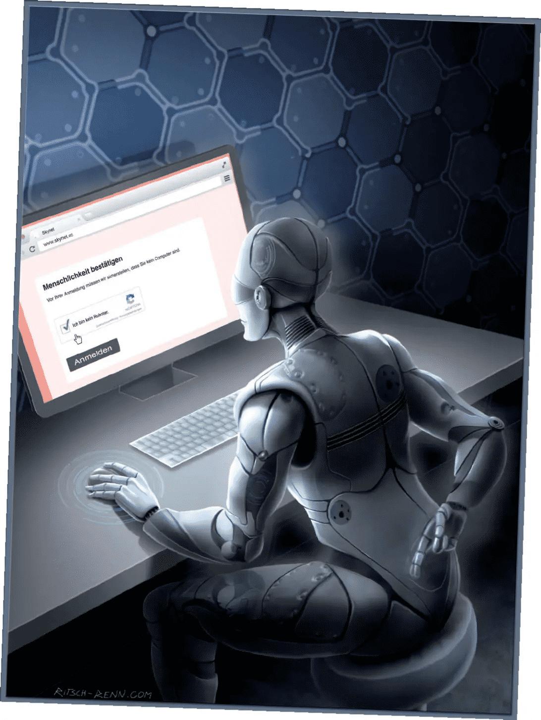 """Ein Roboter sitzt am Computer und löst ein Captcha um seine """"Menschlichkeit"""" zu beweisen"""