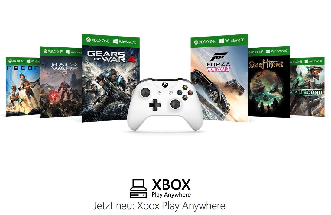 """Micorosft hat unter dem Label """"Play Anywhere"""" erste Spiele veröffentlicht, die sowohl auf der Xbox One als auch unter Windows 10 laufen. Dazu muss man die Spiele jedoch als digitalen Download über seinen Account kaufen."""