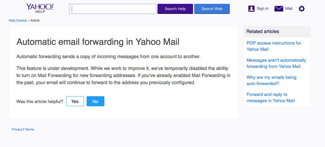 Zum Kopfschütteln: Yahoo behauptet, dass sich seine automatische Mail-Weiterleitung in der Entwicklung befindet und nun vorübergehend abgeschaltet wird. Dass das nicht stimmen kann, belegt der Betreiber selbst damit, dass zuvor eingerichtete Weiterleitungen weiter funktionieren.