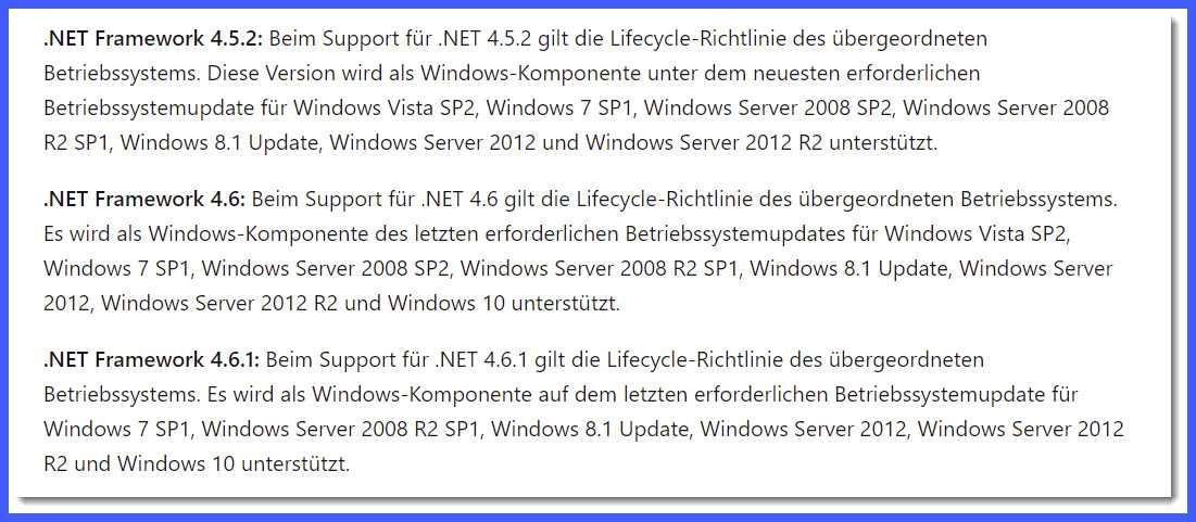 Support-Ende für .NET Framework 4.5.2, 4.6 und 4.6.1 shcon im April 2022