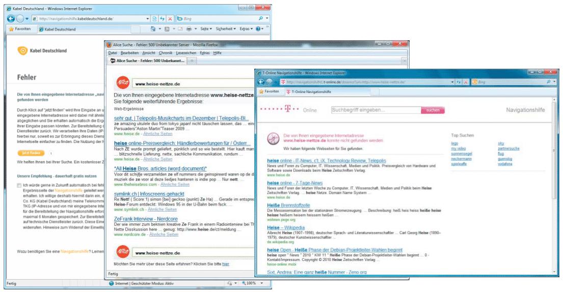 Viele Provider manipulieren DNS-Antworten, um bei Tippfehlern im Browser auf ihre Such- und Werbeseiten zu verweisen.