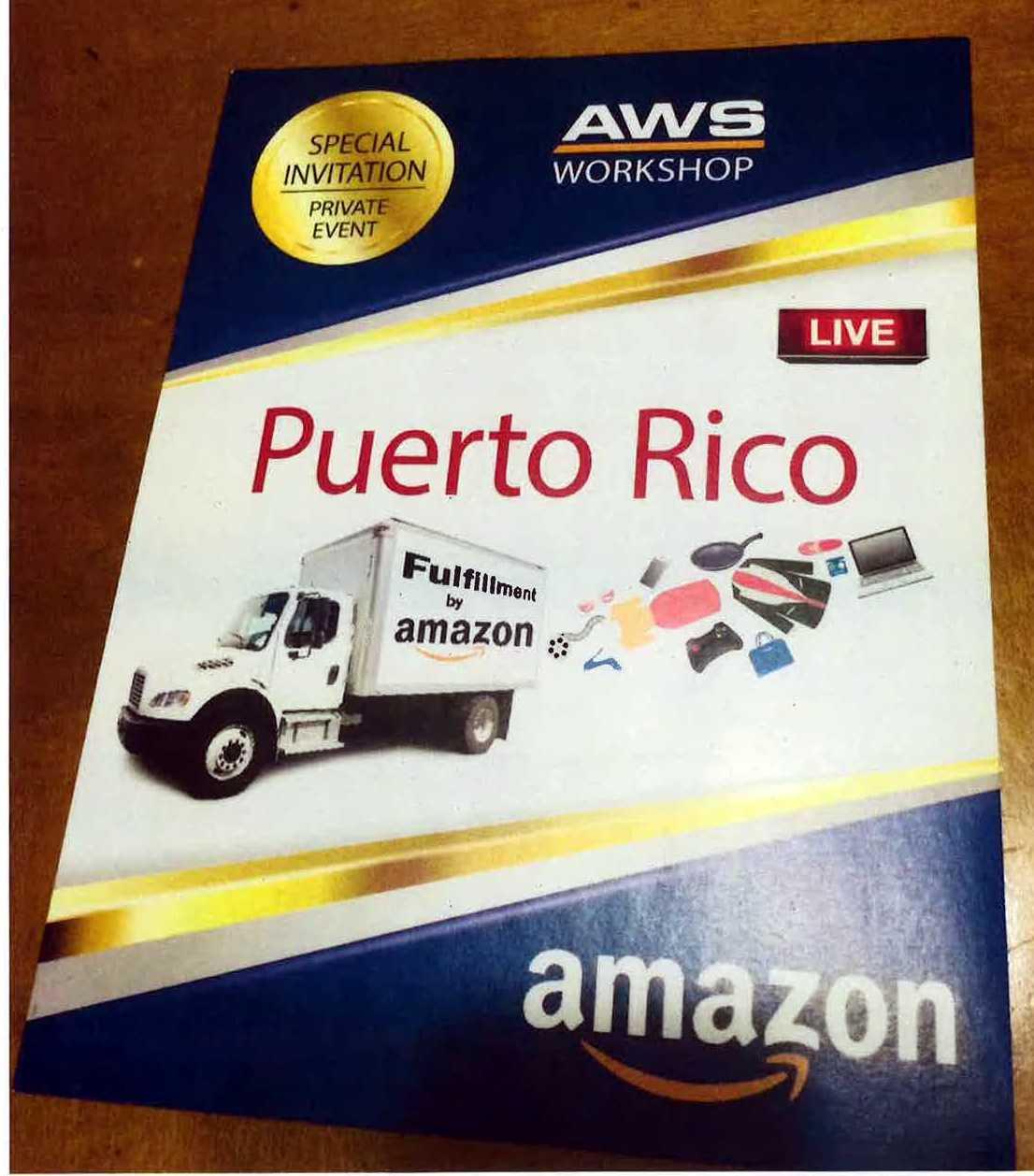"""Deckblatt einer """"Special Invitation"""" zu einem """"Private Event"""" in Puerto Rico, mit Amazon-LKW und Amaon-Schriftzug"""