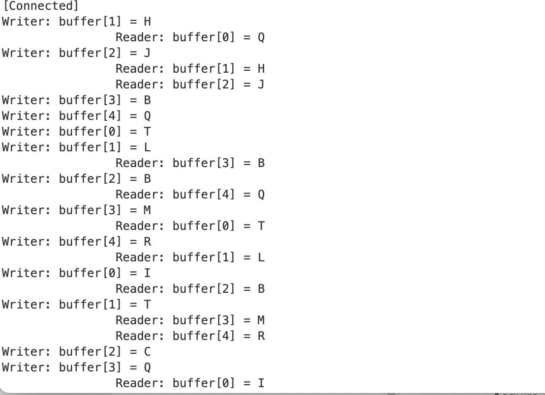 Das Beispielsprogramm zeigt in der Bildschirm-Ausgabe, dass Semaphores richtig zur Synchronisation verwendet werden