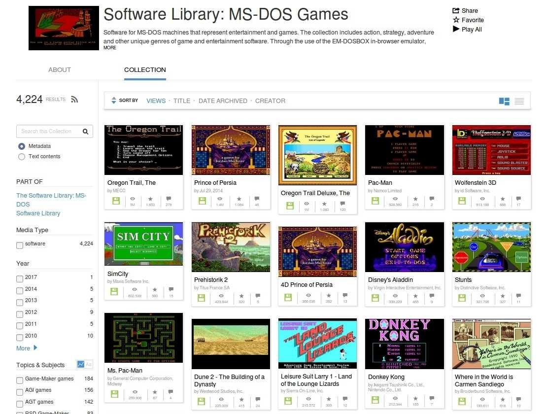 Das Internet Archive nutzt den im Browser eingebetteten MS DOS Emulator DOSBox