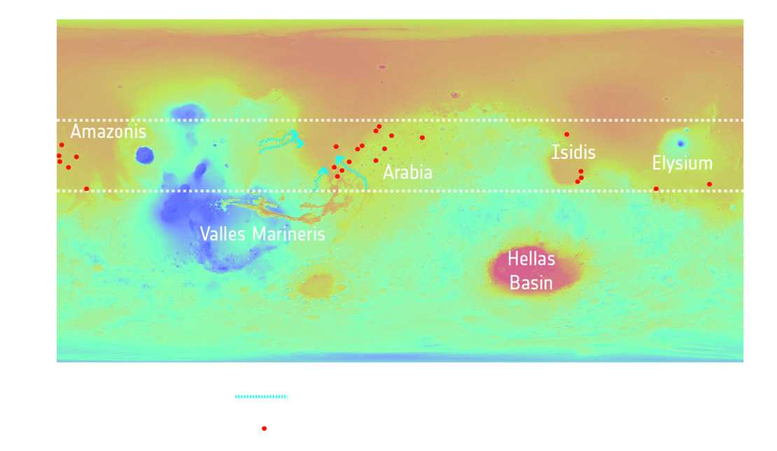 NASA/MGS/MOLA; Crater distribution: F. Salese et al (2019)