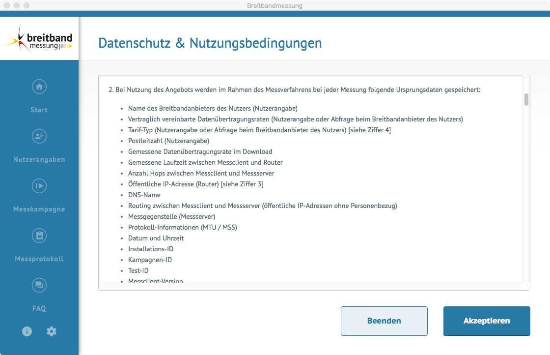 Screenshot der Desktop-App zur Bandbreitenmessung