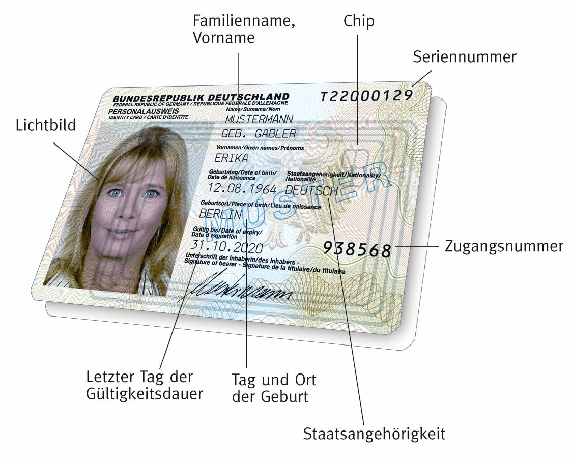 Der neue Personalausweis: Vorderseite mit Beschreibung