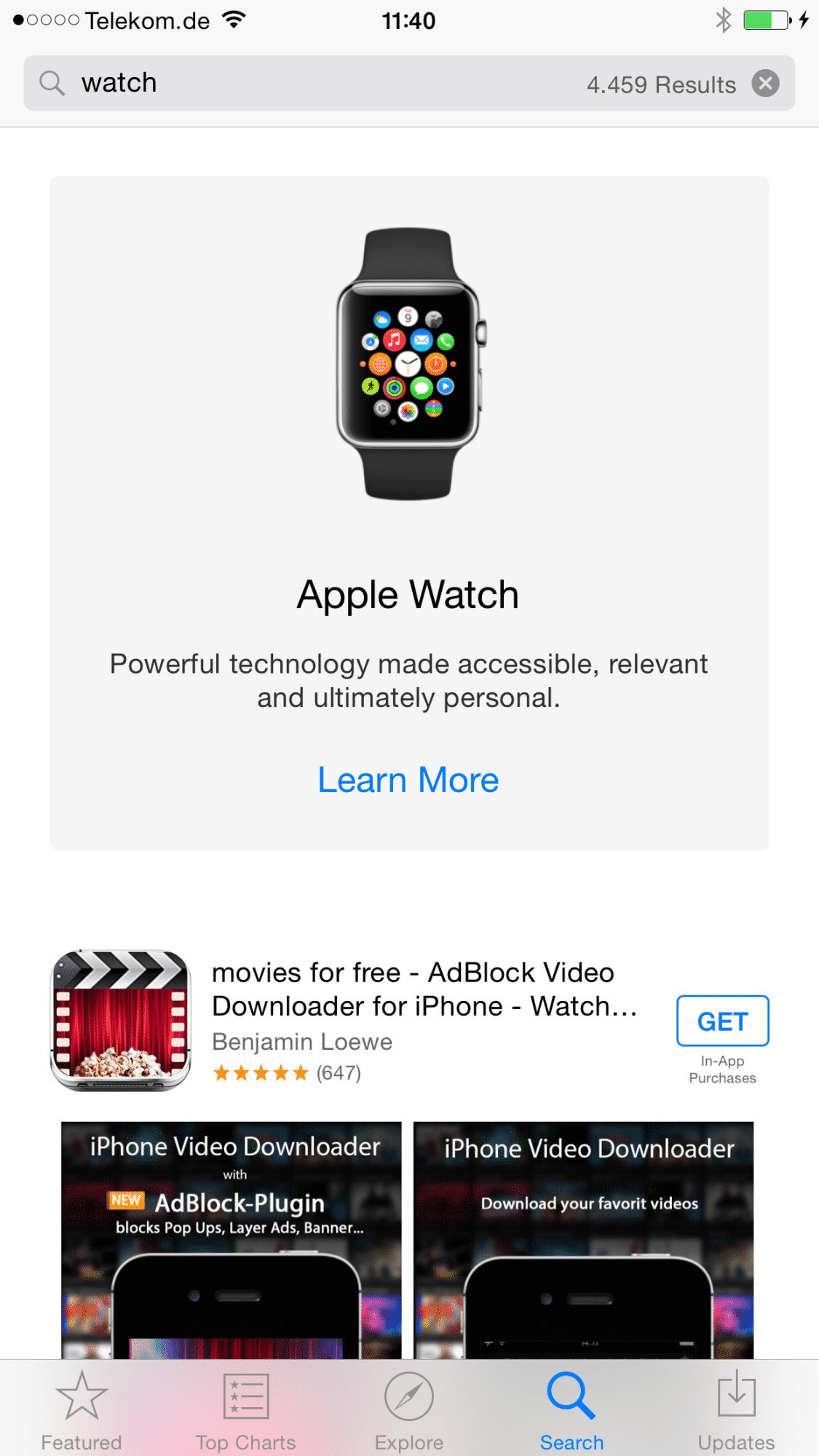 """Die Suche nach """"Watch"""" führt nun zu Apples zukünftiger Armbanduhr"""
