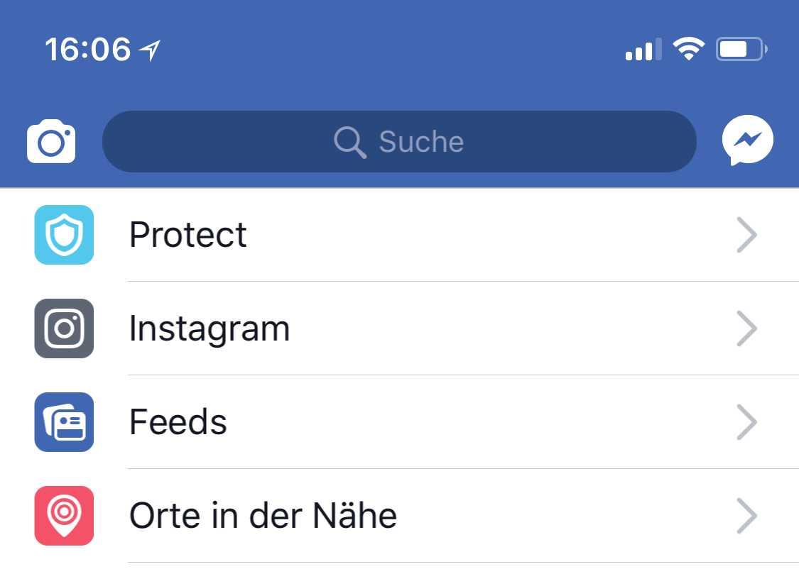 """Facebook hat einen Verweis auf die Onavo-App prominent platziert –unter """"Protect""""."""