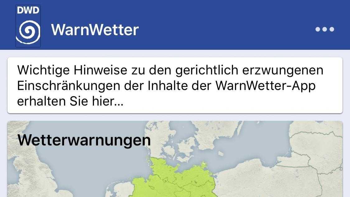 Wetter-App WarnWetter verstößt nicht gegen das Wettbewerbsrecht