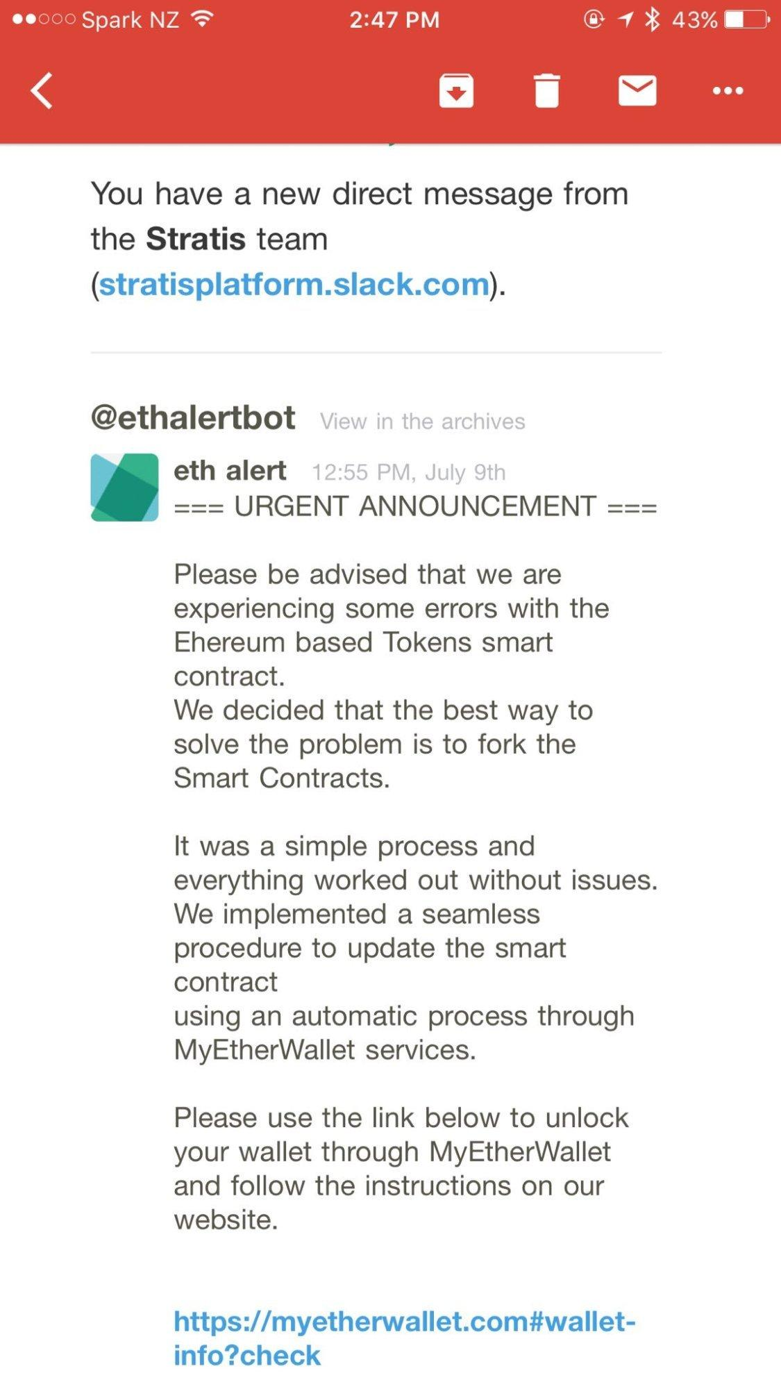 Eine der Phishing-Nachrichten über Slack.