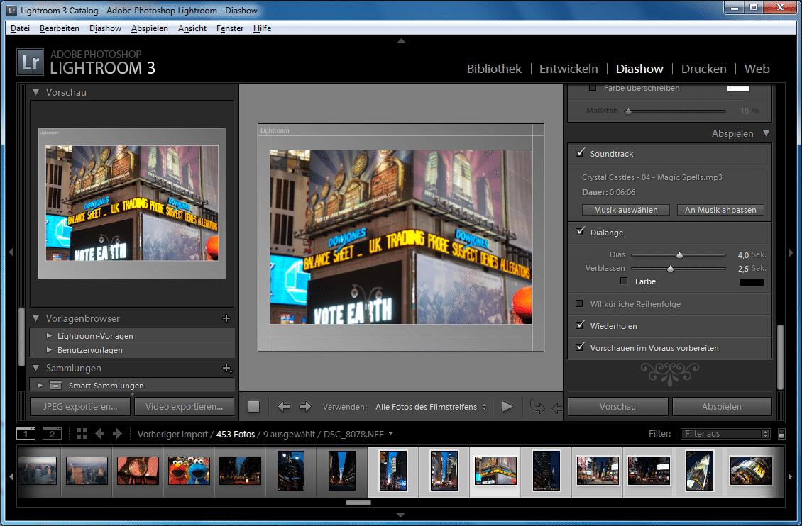 Diashows exportiert Lightroom nun als Videodatei.
