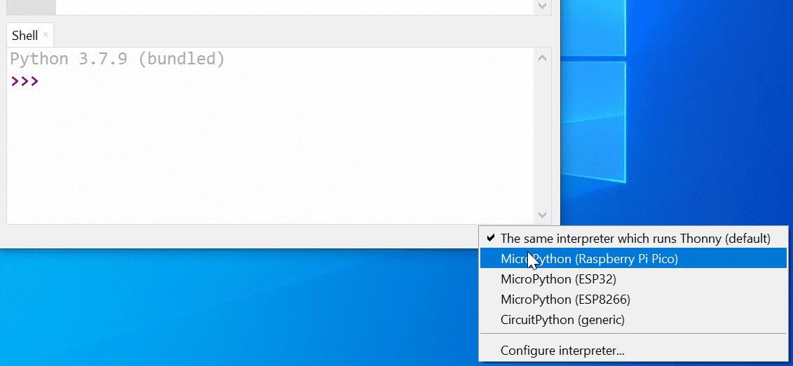 Auswahl von Python-Interpretern in der Thonny IDE