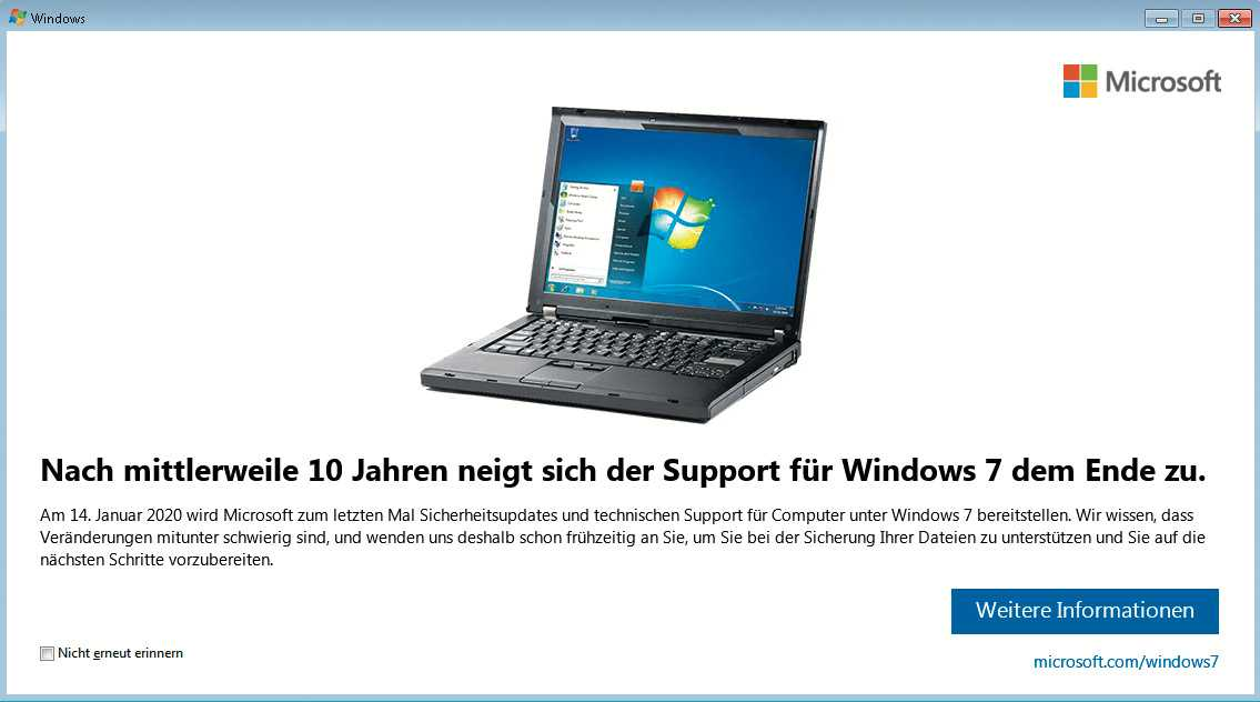 Microsoft meint es ernst: Am 14. Januar 2020 gibt es zum letzten Mal kostenlose Updates für Windows 7. Eine Verlängerung der Frist können sich voraussichtlich nur Firmenkunden erkaufen.