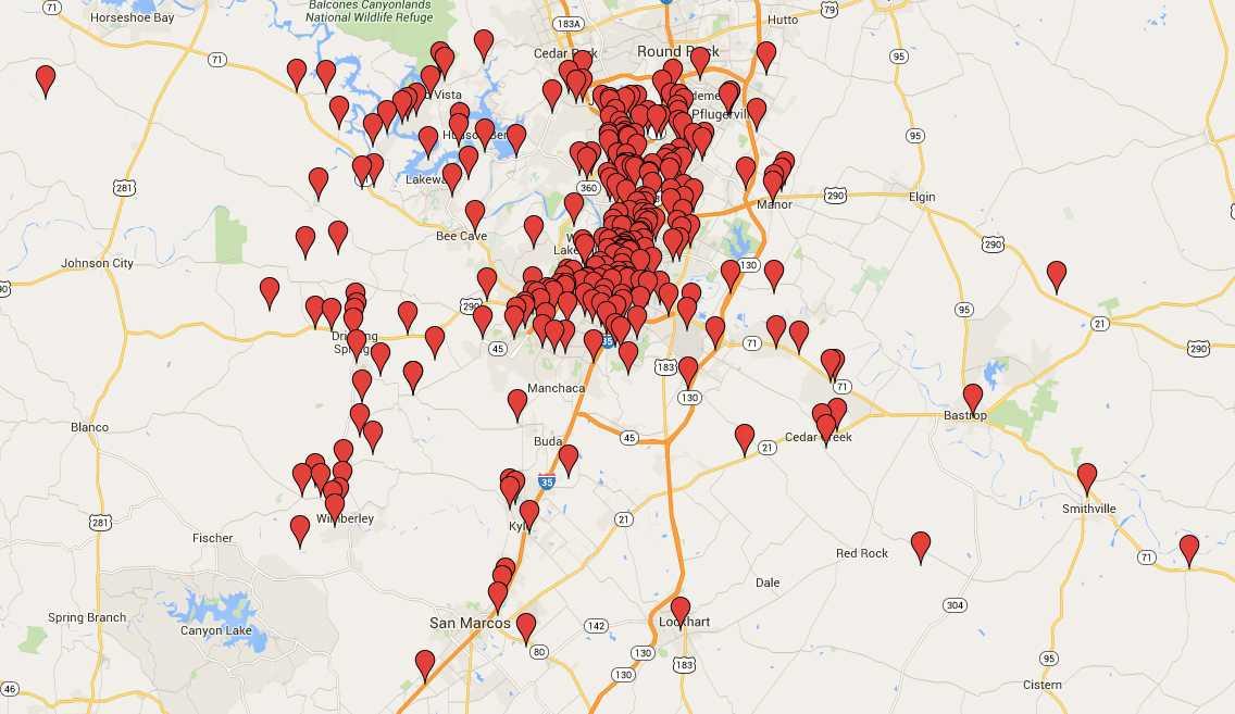 """Einem einzelnen Nutzer aus Austin, Textas, per Kurz-Link auf Google Maps zuordenbare Orte: """"Psychatrische Kliniken, Pfandleiher und Bordelle""""."""