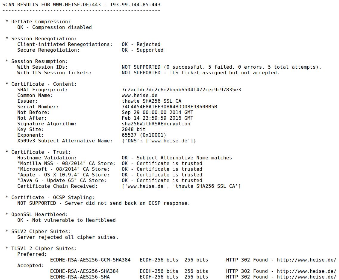 Ganz ohne grafische Oberfläche gibt SSLyze einen guten Überblick über Zertifikat, Einstellungen und Optionen eines SSL-Servers.
