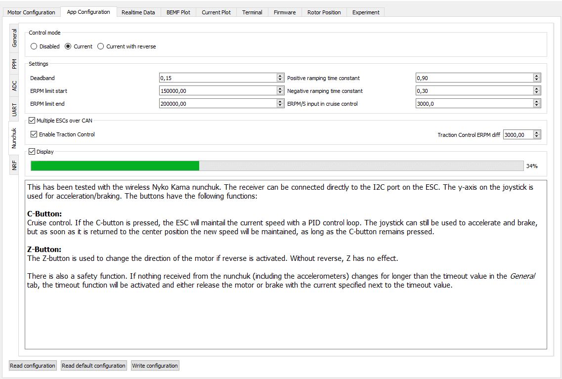 Screenshot der Nunchuk-App-Konfiguration in BLDC Tool