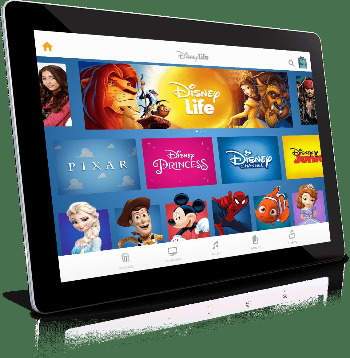 Tablet mit Icons, die Disney-Inhalte anpreisen
