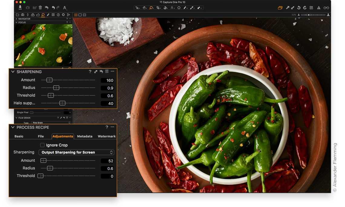 Capture One 10 trennt kreative und Ausgabe-Schärfe in separate Dialoge.