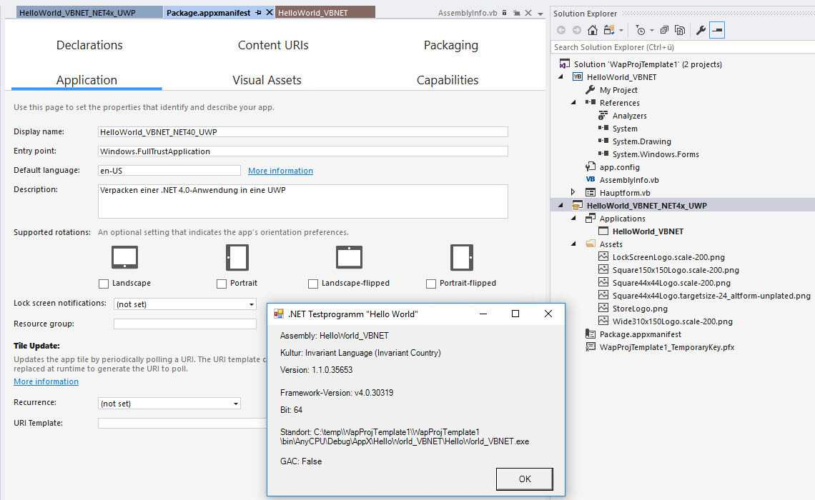 Verpacken einer alten .NET 4.x-Anwendung in eine Universal Platform App mit dem Windows Application Packaging Project in Visual Studio 2017 Update 4