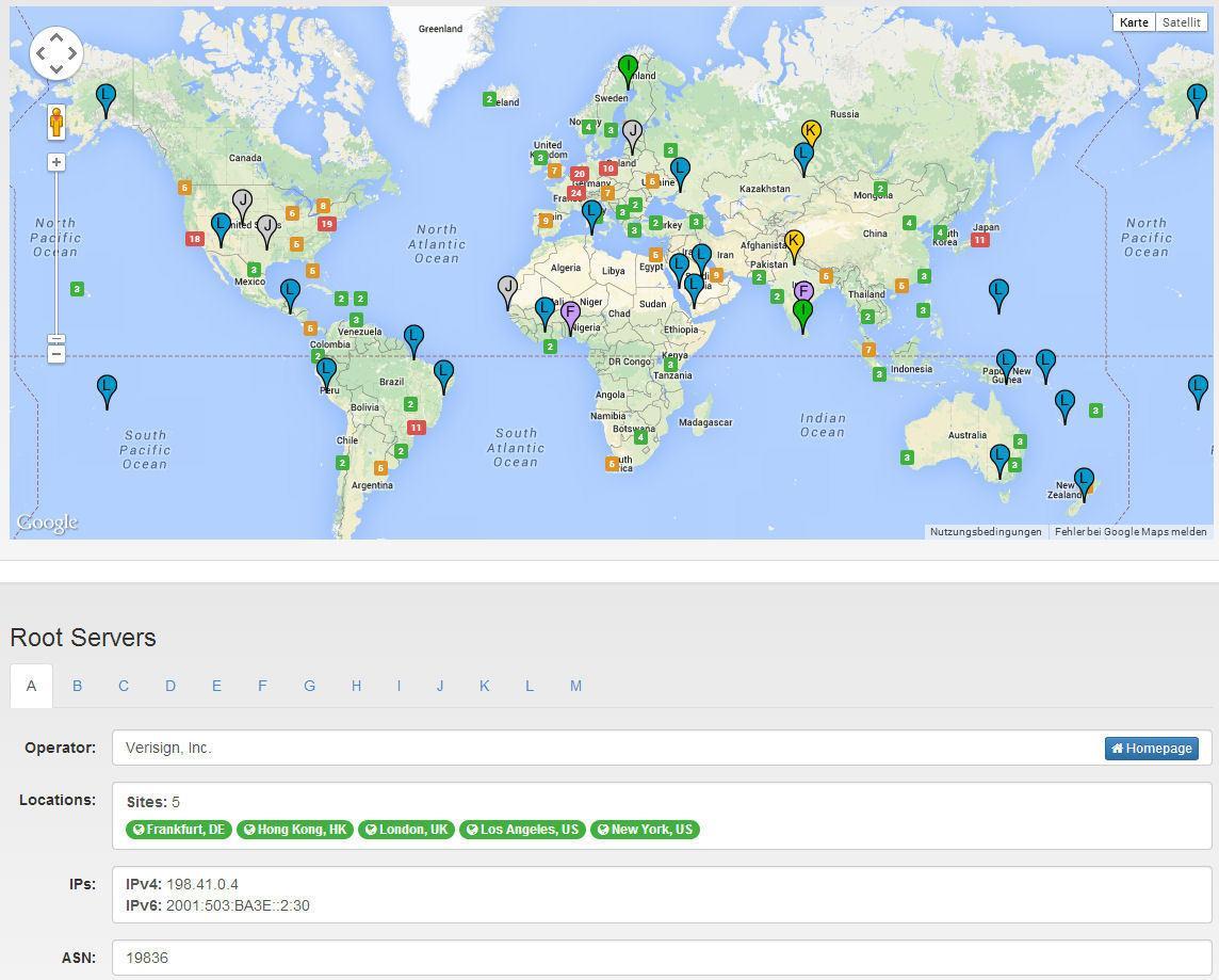 Die 13 DNS-Rootserver und ihre derzeit rund 380 Anycast-Instanzen sind prinzipiell über die ganze Welt verteilt. Die Hauptinstanzen von 10 Rootservern stehen allerdings in den USA.
