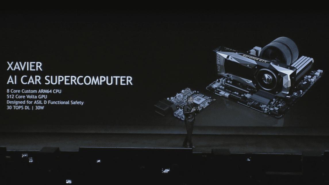 Auf der CES-Keynote stellte Nvdia-Chef Huang den Autocomputer Xavier vor.