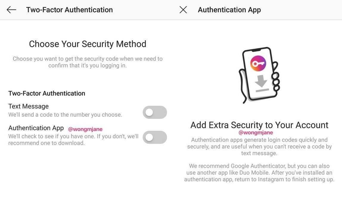 """""""Extra-Sicherheit für deinen Account"""": So sieht die 2FA von Instagram aus. Öffentlich zugänglich ist sie aber noch nicht."""