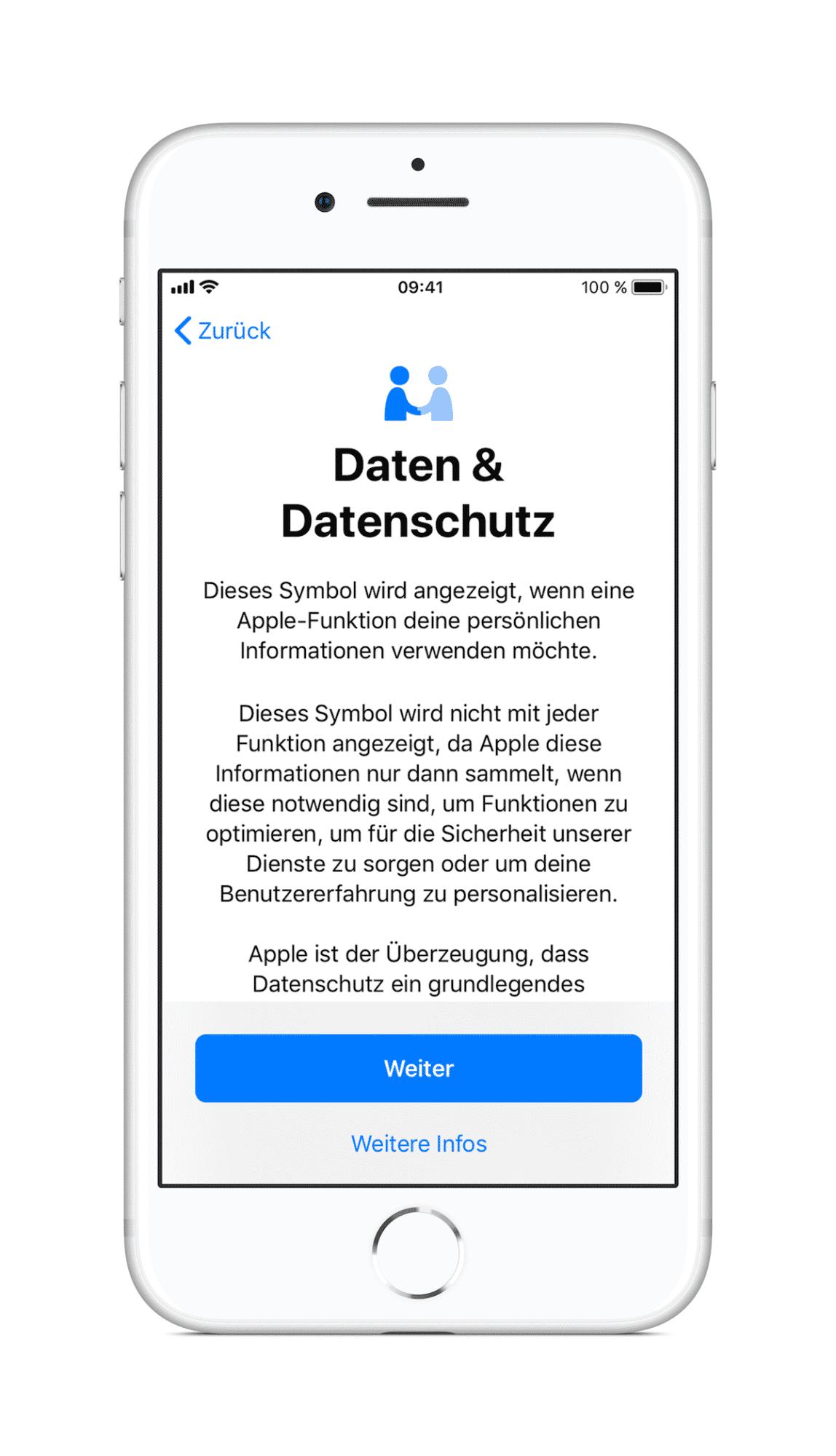 Nach dem Update auf iOS 11.3 erscheint ein Dialog, der auf das neue Logo hinweist und seine Bedeutung erklärt.