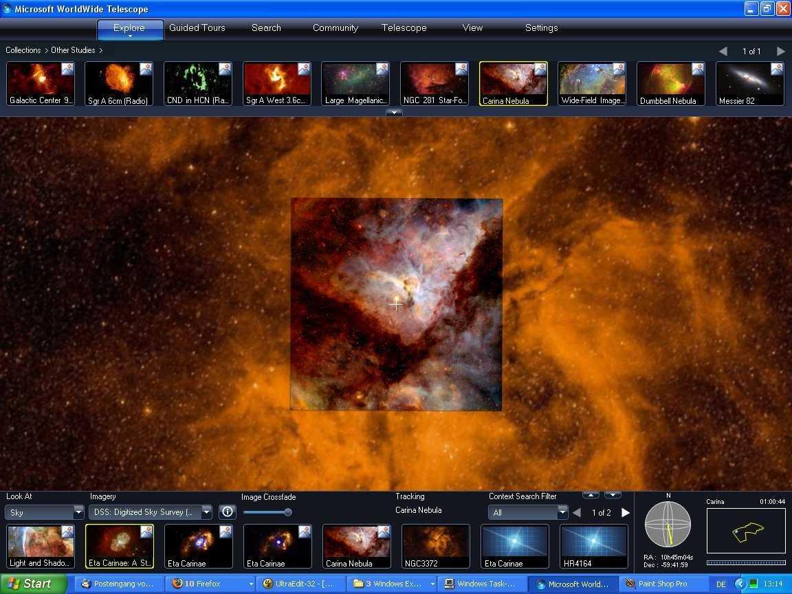 Screenshot des WorldWide Telescope
