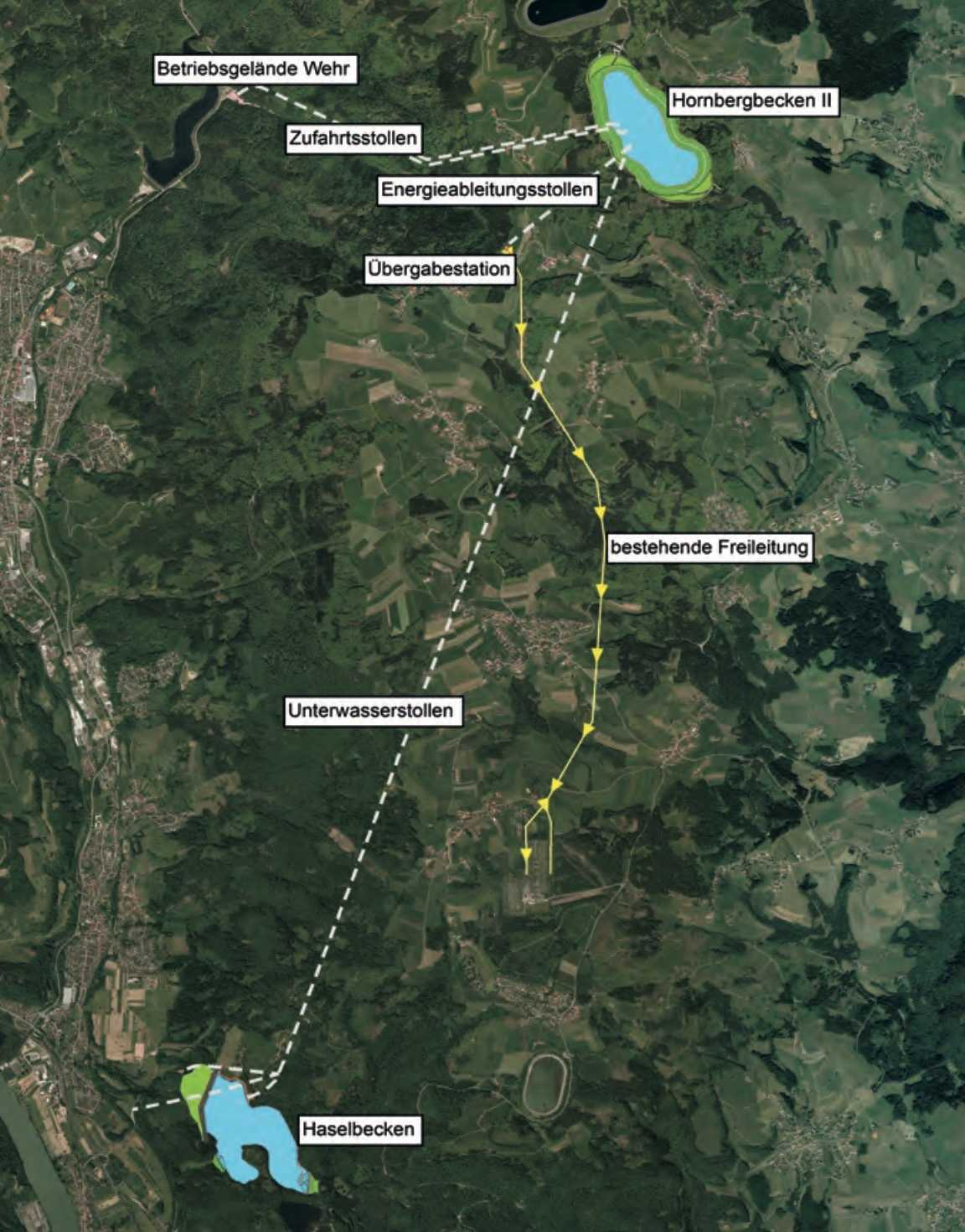 Zwei neue Speicherbecken und mehr als 25 km Untertagebauwerke sollten für das Pumpspeicherwerk Atdorf errichtet werden.