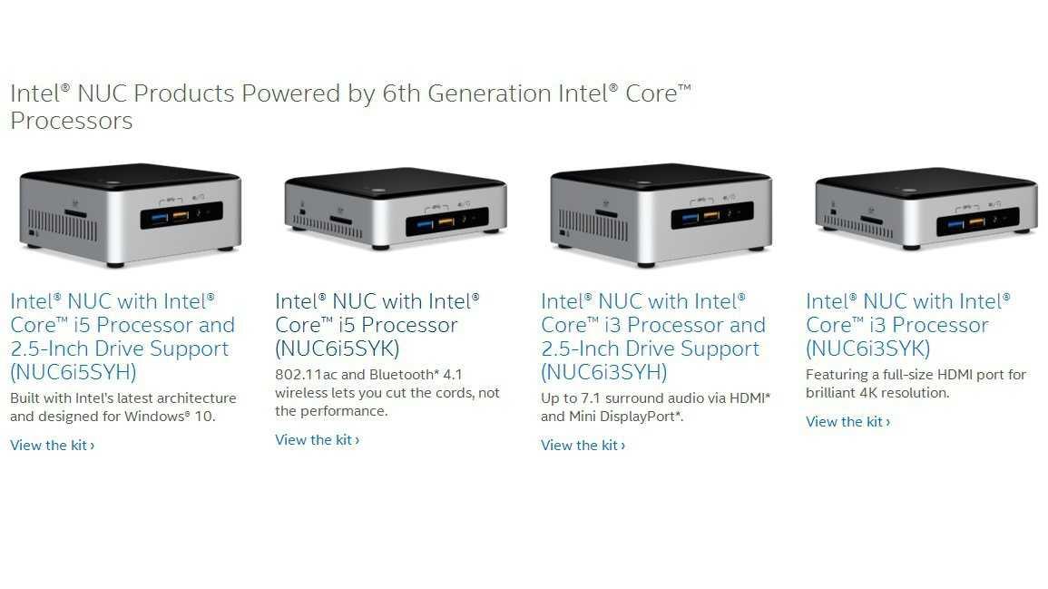 NUC6i5SYH, NUC6i5SYK, NUC6i3SYH und NUC6i3SYK