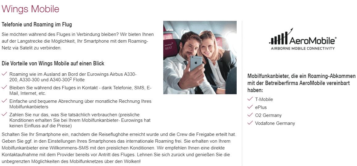 In der Werbung von Eurowings für das Roaming-Angebot werden keine konkreten Preise genannt.