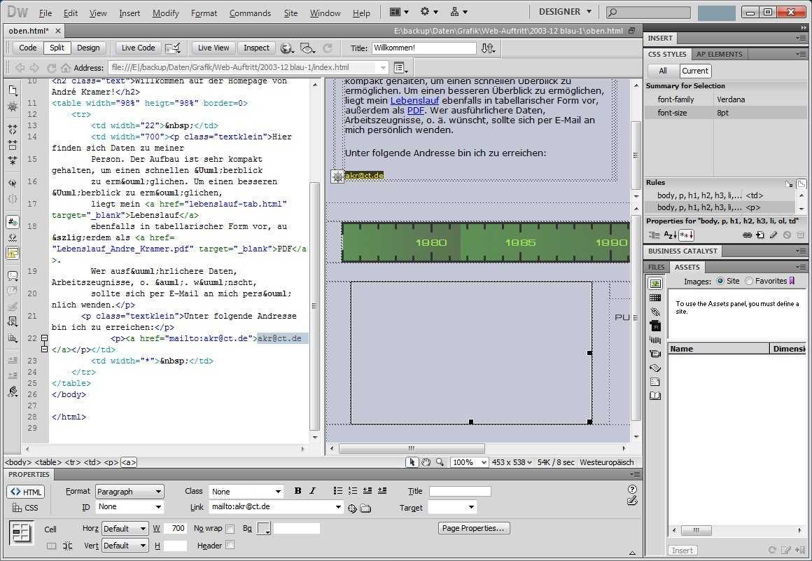 DreamWeaver informiert in der CSS-Palette über den Code zum gewählten Objekt und zeigt dynamisch generierte Inhalte an.