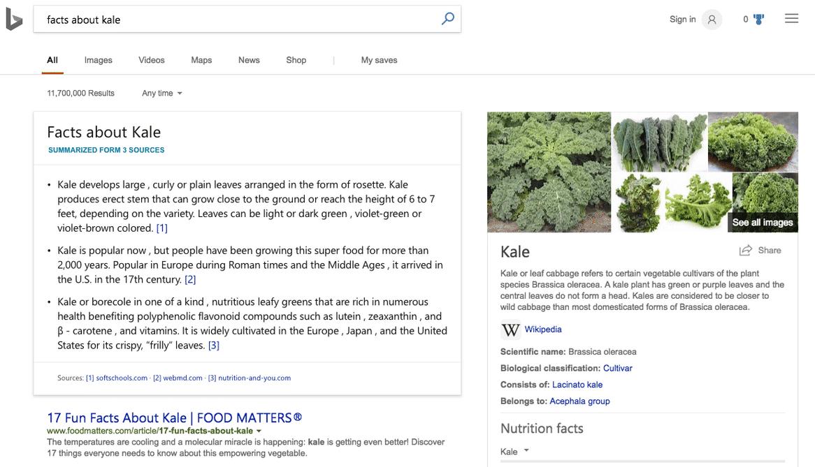 Bing stellt mehrere Fakten zu einer Suchanfrage zusammen. Der Nutzer erfährt dann alles über Grünkohl.