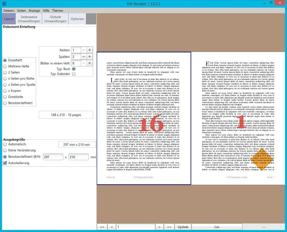 Mit wenigen Mausklicks sortiert PdfBooklet die fortlaufend angelieferten Seiten eines Dokuments so um, dass im doppelseitigen Druck eine blätterbare Broschüre entsteht.