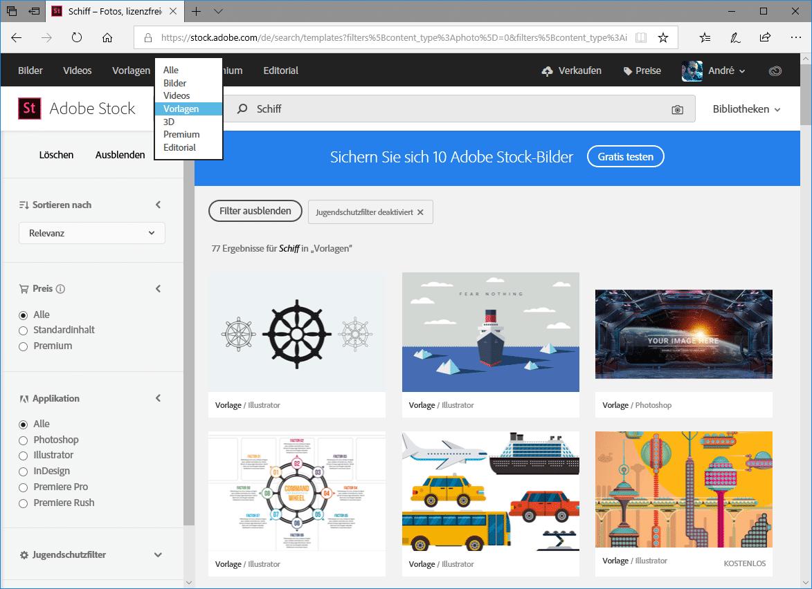 Adobe Stock bietet neben Fotos auch Videos, Designvorlagen und 3D-Modelle.