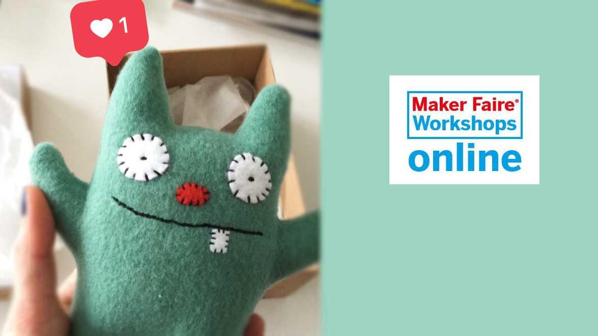 """Eine Hand hält ein grünes Monster, rechts daneben ist ein Logo """"Maker Faire Workshops online"""""""