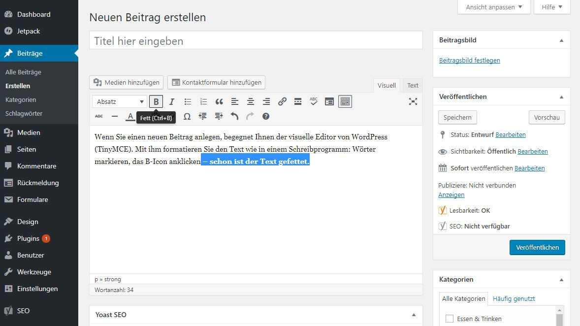 """Der """"visuelle Editor"""" erleichtert die Formatierung von Texten."""